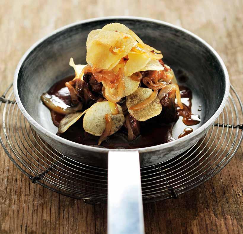 Stoofvlees met lam met chips
